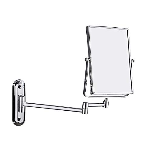 Ghelf Hotel-Badezimmer-Wandspiegel Quadratischer doppelseitiger Schminkspiegel Faltbare Drehung Badezimmerspiegel Edelstahl-Badezimmer-Klappspiegel Multifunktionslupe