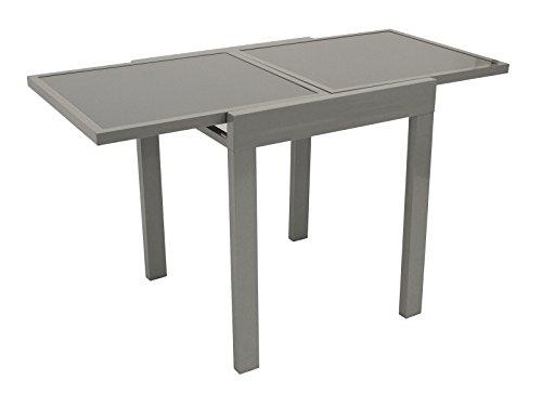 DEGAMO Balkontisch Amalfi aus Aluminium und Glas 65x65cm, ausziehbar auf 65x130cm -
