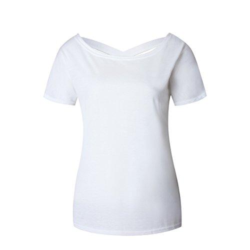 Yieune V Ausschnitt T-Shirt Damen Oversized Sommer Kurzarm Oberteile Bluse Mode Lose Hemd Party Tops Weiß