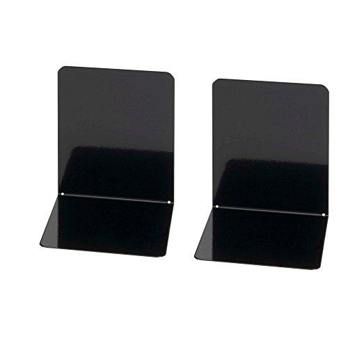 Wedo 1021101 - Sujetalibros de metal, ancho, 2 unidades, 14 x 12 x 14 cm, color negro
