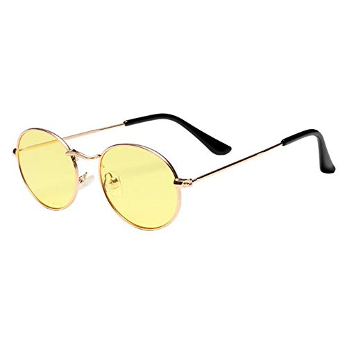 QDE Sonnenbrillen Niedliche Retro Ovale Sonnenbrille Frauenweinlese Rundes Kleines Gesicht Sonnenbrille Weiblich Rosa Eyewear, E