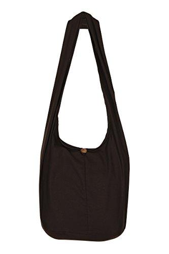 ThaiUK Damen Hippie-Tasche mit Schulterriemen, Boho-Stil, 100 % Baumwolle Braun - Braun