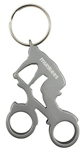 munkees Schlüsselanhänger Fahrrad Fahrer Flaschenöffner Alu, Sport-Geschenk,Silber, 35271
