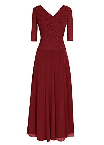 Dresstells, Robe de demoiselle d'honneur Robe de soirée Robe de cérémonie longueur ras du sol manches 3/4 Bordeaux