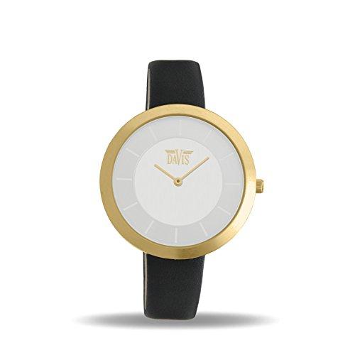 Davis 2039 - Reloj Diseño Mujer Acero Oro Cuadrante Extra plano Esfera Acero Correa de Piel Negro