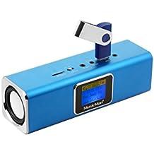 Technaxx Musicman - Altavoz portátil (LCD, MP3, FM, USB y microSD), color azul