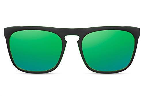 Cheapass Sonnenbrille Verspiegelt Matt-Schwarz Grün UV-400 Sport-lich Schnell Plastik Damen Herren