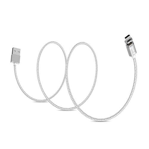 Cables, WSKEN 1m 2.4A X-cable mini-2 Metal magnética del USB del estilo tejida cable micro USB 2.0 Data Sync cable de carga inteligente metal Magnetismo cable con 24K baño de oro del punto del tacto y luz indicadora LED y Anti-error de la función de reconocimiento para Samsung, HTC, Sony, Huawei, Xiaomi, Meizu