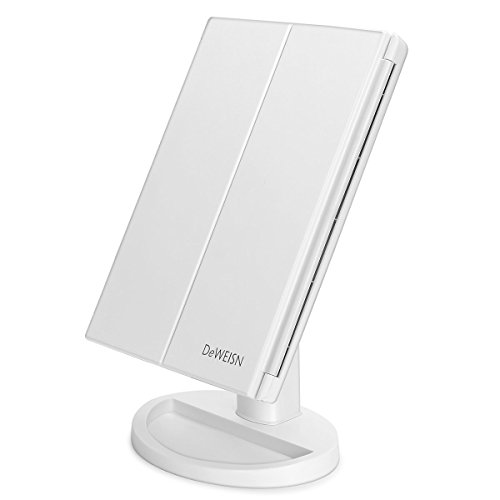 newest-36-led-nature-daylight-tri-fold-lighted-vanity-makeup-mirror-with-touch-screen-dimming-and-3x