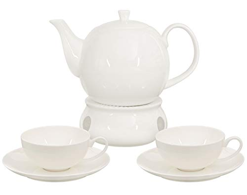 Buchensee Teeservice aus Fine Bone China Porzellan. Teekanne in fein-cremigem Weiß mit 1,5l Füllvolumen, 2 Teetassen, 2 Unterteller und Stövchen.