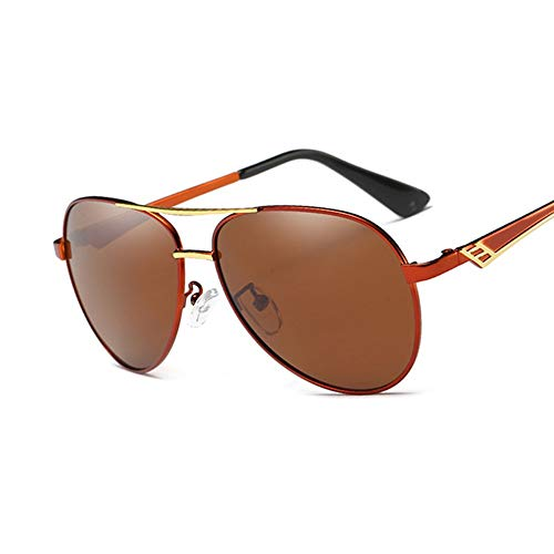 Sonnenbrille Männer Fahren Sonnenbrille Weiblichen Eyewear Pilot Stil Polarisierte Gläser Fashion Frame Design Neue Rot-Braun