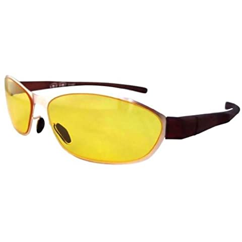 Eyekepper Stainless Steel Frame Rim Plastic Arms Yellow Lens Night Vision Driving Sports Sunglasses Gold