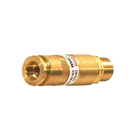 IBEDA DKSG Einzelflaschensicherung mit Außengewinde, Schlauchkupplung nach EN 561, integrierter Flammensperre, Gasrücktrittventil, Schmutzfilter und Gassperre, Ausführung:Sauerstoff G 1/4'' (Rh Außengewinde)