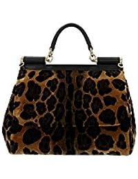 Handtasche Dolce&Gabbana Damen Samt Leopard, Schwarz und Gold BB6002AL31289651 Schwarz 12X21X26 cm
