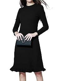 Luna et Margarita Petite Robe Noire Ajustée Au Genou Manche Longue Col Rond  pour Travail a8fcd17d8efd