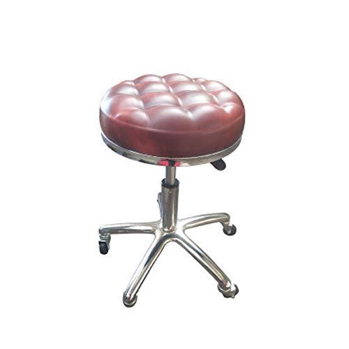 Runder Salon-Massagesessel, höhenverstellbar, 360-Grad-Drehung mit Gaslift-Schönheitshocker, bequemer und atmungsaktiver schwammstabiler Chassis-Heimhocker (rot) -
