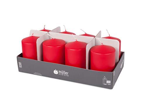 Müller Candele Rosso Carminio (8 Pezzi), Dimensioni 11 x 6,8 cm, Durata Circa 35 O