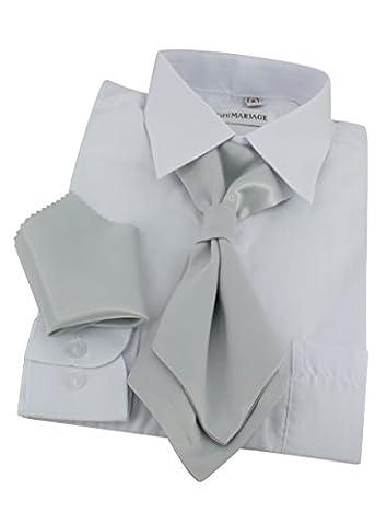 Cravate lavallière enfant + pochette - Gris argent - Taille Unique