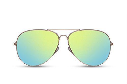 Cheapass Sonnenbrille Verspiegelt Gold Grün-Gelb UV-400 Flieger-Brille Pilot-en Metall-Rahmen Damen Herren