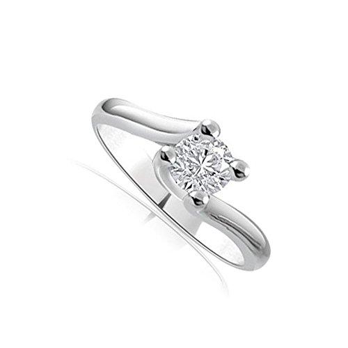 Anello di fidanzamento solitario donna oro bianco 18 carati diamante naturale taglio brillante 0.20ct - colore g e purezza si1 - infinity of london jewelry