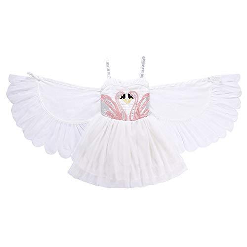 DMMDHR Halloween Cosplay Kleid Für Mädchen Mädchen Party Kleid Mit Abnehmbaren Schwanenflügeln 2 STÜCKE Geburtstag Engel Halloween Kostüm Kinder Kleidung Für 2-8Y, Weiß, 2 T (2 Stück Spandex Kostüm)