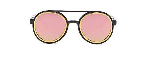 Sonnenbrille 3-7 Jahre Kinder Sonnenbrille Vintage Runde Gläser Süße Jungs & Mädchen Reflektierende Linse Kind Eyewear Blck Rosa
