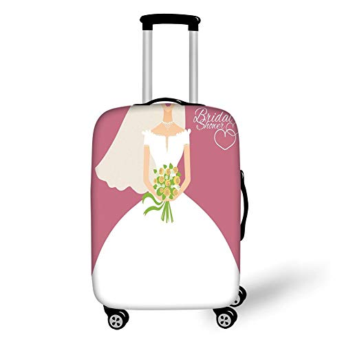Suitcase Protector,Bridal Shower Decorations,Wedding Day Bride with White Dress and Flowers Image,Dark Coral and White,for Travel ()