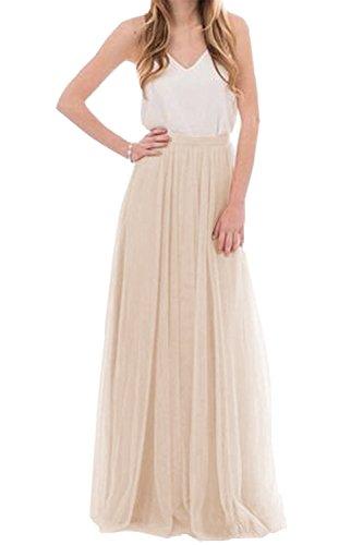 uideazone Damen Tüll Röcke Lange 3 Schichten Plissiert Ausgestellte Hochzeit Prom Elegante Rock Weiß L