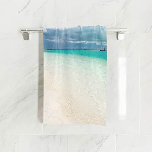 Ahomy Handtücher, 38 x 76 cm, Wolkenhimmel, Strand, Ozean, Mehrzweck-Handtücher, extra saugfähig für Bad, Hand, Gesicht, Fitnessstudio und Spa (Bad Handtücher Ozean)