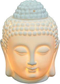 Moylor Buddha - Quemador de aceite de cerámica translúcida, difusor de aromaterapia para regalo del día del padre y decoración del hogar (blanco y negro)