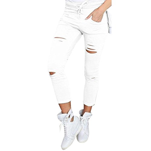 Rawdah Pantalon Décontracté Trou Et Pantalon Cheville Femmes Skinny Ripped Pantalons Taille Haute Extensible Slim Pencil Pants (L, Blanc)