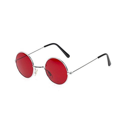John Lennon-Brille mit rotem Rahmen, rund, Metall rose