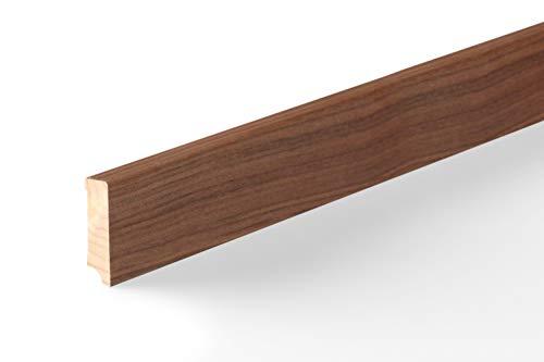 KGM Sockelleiste Nussbaum Echtholz | Fußleiste 58mm Modern ✓Echtholz Fichte Träger ✓Furnier Holz Oberfläche ✓Parkettleiste | Sockelleisten Laminat & Parkett | Holzleisten Nussbaum 16x58x2500mm