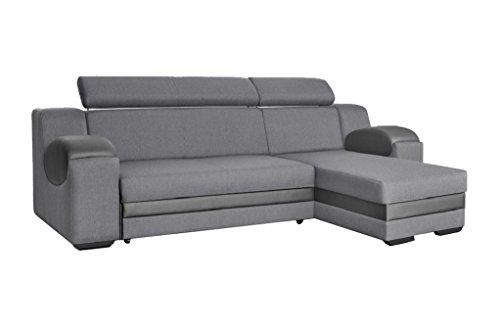 Ecksofa Sofa Eckcouch Couch mit Schlaffunktion und Bettkasten Ottomane L-Form Schlafsofa Bettsofa Polstergarnitur MERCURY (Ecksofa Rechts, Grau)