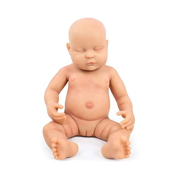"""Vollence Lifelike Reborn Baby Dolls That Look Real,PVC Free,Similar Real Baby Full Weighted Doll,Handcrafte Cute Babies Dolls Vollence ★ USER NOTICE:Because the doll's head has silicone injection hole,The injection hole is one of the process of making dolls,So it will leave a slight mark on its head,This is not a doll's quality problem,If you mind the head slight mark,please do not buy it! ★ Doll Size: 18 inch / 45 cm (newborn size) Weight:8.37Ib(3.8kg).What's in the box: 1 x Reborn Doll ; 1 x a set of baby clothes ★ Better than Vinyl Dolls: Our reborn baby is made of Platinum Liquid Full Silicone, She is Solid reborn baby dolls,And not like vinyl dolls are hollow.That is right, Real FULL SILICONE . it is Weighted Body for a """"Real"""" Baby Feel. So it is expensive than other seller baby dolls. 1"""