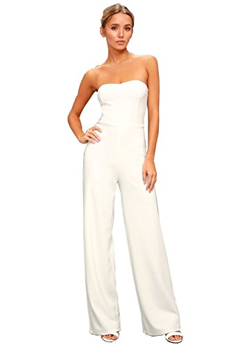 2018 Neue Damen Jumpsuit Schulterfrei Frauen elegant Wide Leg Lang Hosen Overall Playsuit Party Abendmode (Weiß-Stil 1, - Party-hosen
