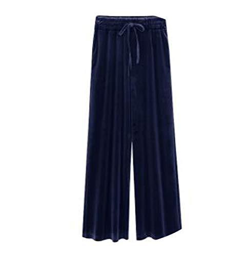 XFkbeA Frühling und Herbst breite Beinhosen der Frauen beiläufige lose Hosen Hohe Taille Mode Weibliche gerade Hosen, dunkelblau, L -