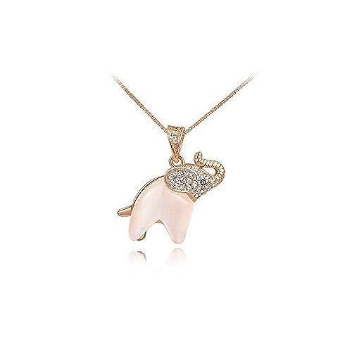 Gold elephant necklace amazon youxi opal crystal elephant charm pendant necklace gold aloadofball Choice Image