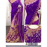 I-Brand Georgette Saree With Blouse Piece (Isunsa1936_Purple_Free Size)