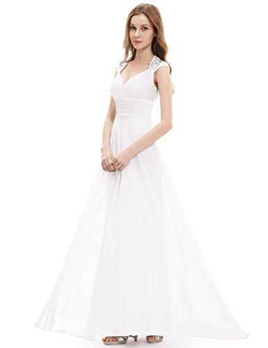 Ever Pretty Damen V-Ausschnitt Lange Chiffon Abendkleider Festkleider 09672 Weiß
