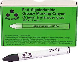 three-30fp5-pointed-stars-chalk-120-x-11-mm-pack-of-12-green