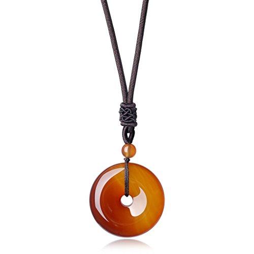 COAI® Kreisring Anhänger aus Quarz/Obsidian/Unakit/Tigerauge/Achat/Rosenquarz&Amazonit Kreisring Anhänger Halskette für Damen/Herren