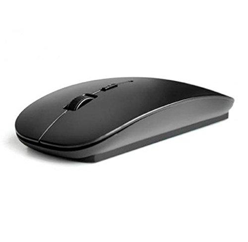 WINWINTOM 2.4 GHz delgada ratón sin hilos óptico Mice + receptor para PC portátil Mac (Negro)