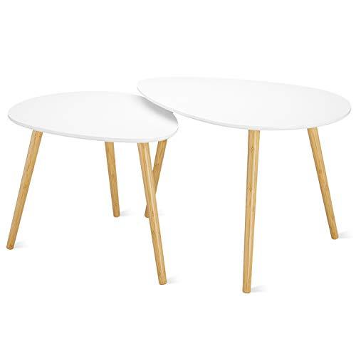 Homfa Lot de 2 Tables Basses Gigognes Table d'appoint à Café Blanche (Gouttelettes d'eau)