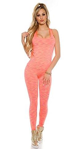 Damen Trendy Workout-Outfit Jogginganzug Trainingsanzug sportlicher 2Teiler Fitness Sport Leggings Leggins Hose Pants mit Trägertop Tank Top Shirt 40/42 (L/XL) coral