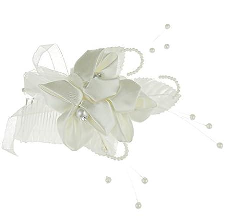 Superbe Mesdames Satin Ivoire Imitation Perle Motif floral Trio Peigne de mariage mariée Bibi