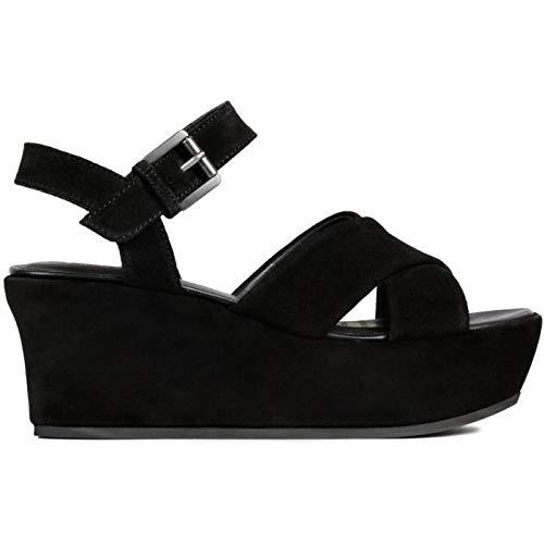 Geox d zerfie b, sandali con zeppa donna, nero (black c9999), 41 eu