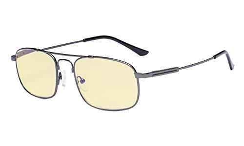 Eyekepper Blaulicht Brille Damen und Herren-Computer Brillen-Memory Titan Fassung Federscharniere Doppel brücke Metallisch Blaugrau +0.00
