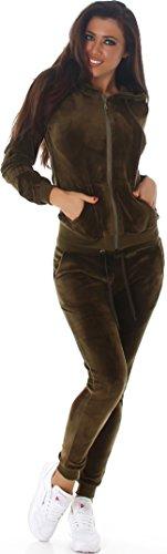 Velours Jogginganzug Jacke & Hose, Olive Green M (Suit Jacke Casual)