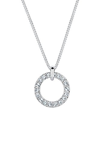 Elli Damen-Kette mit Anhänger Kreis 925 Sterling Silber Swarovski Kristall im Brillantschliff weiß 45 cm - 0110762414_45
